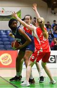 27 February 2020; Michelle Ugwah of SMGS Blarney in action against Aisling Doughty of Virginia College during the Basketball Ireland All-Ireland Schools U16A Girls League Final between SMGS Blarney and Virginia College, Cavan at National Basketball Arena in Dublin. Photo by Eóin Noonan/Sportsfile