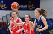 27 February 2020; Saoirse Breen of SMGS Blarney in action against Sydney Gregg of Virginia College during the Basketball Ireland All-Ireland Schools U16A Girls League Final between SMGS Blarney and Virginia College, Cavan at National Basketball Arena in Dublin. Photo by Eóin Noonan/Sportsfile