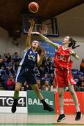27 February 2020; Saoirse Breen of SMGS Blarney in action against Niamh Tolan of Virginia College during the Basketball Ireland All-Ireland Schools U16A Girls League Final between SMGS Blarney and Virginia College, Cavan at National Basketball Arena in Dublin. Photo by Eóin Noonan/Sportsfile