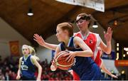 27 February 2020; Orla Humphreys of SMGS Blarney in action against Ciara Brady of Virginia College during the Basketball Ireland All-Ireland Schools U16A Girls League Final between SMGS Blarney and Virginia College, Cavan at National Basketball Arena in Dublin. Photo by Eóin Noonan/Sportsfile