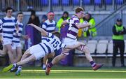 27 February 2020; Alex Kelly of Clongowes Wood College is tackled by James O'Sullivan of Blackrock College during the Bank of Ireland Leinster Schools Junior Cup Second Round match between Blackrock College and Clongowes Wood College at Energia Park in Dublin. Photo by Matt Browne/Sportsfile