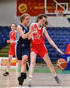 27 February 2020; Emma Tobin of Virginia College in action against Saoirse Breen of SMGS Blarney during the Basketball Ireland All-Ireland Schools U16A Girls League Final between SMGS Blarney and Virginia College, Cavan at National Basketball Arena in Dublin. Photo by Eóin Noonan/Sportsfile