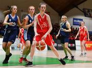 27 February 2020; Niamh Tolan of Virginia College in action against Orla Humphreys of SMGS Blarney during the Basketball Ireland All-Ireland Schools U16A Girls League Final between SMGS Blarney and Virginia College, Cavan at National Basketball Arena in Dublin. Photo by Eóin Noonan/Sportsfile