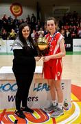 27 February 2020; Emma Tobin of Virginia College is presented with the MVP award by Louise O'Loughlin of Basketball Ireland following the Basketball Ireland All-Ireland Schools U16A Girls League Final between SMGS Blarney and Virginia College, Cavan at National Basketball Arena in Dublin. Photo by Eóin Noonan/Sportsfile