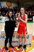 27 February 2020; Niamh Tolan of Virginia College is presented with the cup by Louise O'Loughlin of Basketball Ireland following the Basketball Ireland All-Ireland Schools U16A Girls League Final between SMGS Blarney and Virginia College, Cavan at National Basketball Arena in Dublin. Photo by Eóin Noonan/Sportsfile