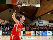 27 February 2020; Niamh Tolan of Virginia College lifting the cup following the Basketball Ireland All-Ireland Schools U16A Girls League Final between SMGS Blarney and Virginia College, Cavan at National Basketball Arena in Dublin. Photo by Eóin Noonan/Sportsfile