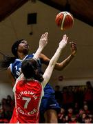 27 February 2020; Michelle Ugwah of SMGS Blarney in action against Niamh Tolan of Virginia College during the Basketball Ireland All-Ireland Schools U16A Girls League Final between SMGS Blarney and Virginia College, Cavan at National Basketball Arena in Dublin. Photo by Eóin Noonan/Sportsfile