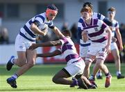 27 February 2020; Tom Brigg of Blackrock College is tackled by Kosi Ugwuere of Clongowes Wood College during the Bank of Ireland Leinster Schools Junior Cup Second Round match between Blackrock College and Clongowes Wood College at Energia Park in Dublin. Photo by Matt Browne/Sportsfile