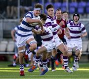 27 February 2020; Michael Colreavy of Blackrock College is tackled by Sam Pinel of Clongowes Wood College during the Bank of Ireland Leinster Schools Junior Cup Second Round match between Blackrock College and Clongowes Wood College at Energia Park in Dublin. Photo by Matt Browne/Sportsfile