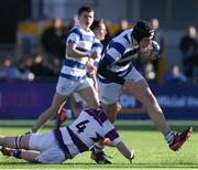 27 February 2020; Alex Mullan of Blackrock College is tackled by Alex Kelly of Clongowes Wood College during the Bank of Ireland Leinster Schools Junior Cup Second Round match between Blackrock College and Clongowes Wood College at Energia Park in Dublin. Photo by Matt Browne/Sportsfile
