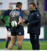 28 February 2020; National scrum coach John Fogarty, right and Andrew Porter during an Ireland Rugby open training session at Energia Park in Donnybrook, Dublin. Photo by Ramsey Cardy/Sportsfile