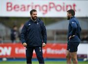 28 February 2020; Head coach Andy Farrell, left, and Stuart McCloskey during an Ireland Rugby open training session at Energia Park in Donnybrook, Dublin. Photo by Ramsey Cardy/Sportsfile