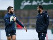 28 February 2020; Stuart McCloskey, left, and Head coach Andy Farrell during an Ireland Rugby open training session at Energia Park in Donnybrook, Dublin. Photo by Ramsey Cardy/Sportsfile