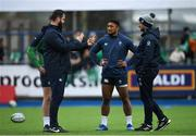 28 February 2020; Head coach Andy Farrell, left, Ross Byrne, behind, Bundee Aki, and Assistant coach Mike Catt during an Ireland Rugby open training session at Energia Park in Donnybrook, Dublin. Photo by Ramsey Cardy/Sportsfile