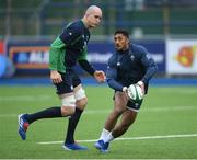 28 February 2020; Bundee Aki, right, and Devin Toner during an Ireland Rugby open training session at Energia Park in Donnybrook, Dublin. Photo by Ramsey Cardy/Sportsfile