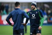 28 February 2020; Robbie Henshaw, right, and Conor Murray during an Ireland Rugby open training session at Energia Park in Donnybrook, Dublin. Photo by Ramsey Cardy/Sportsfile