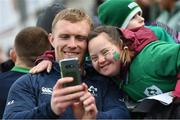 28 February 2020; Keith Earls and Jennifer Malone, from Clane, Co Kildare, following an Ireland Rugby open training session at Energia Park in Donnybrook, Dublin. Photo by Ramsey Cardy/Sportsfile