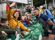 28 February 2020; Andrew Porter with supporters following an Ireland Rugby open training session at Energia Park in Donnybrook, Dublin. Photo by Ramsey Cardy/Sportsfile