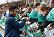 28 February 2020; Bundee Aki following an Ireland Rugby open training session at Energia Park in Donnybrook, Dublin. Photo by Ramsey Cardy/Sportsfile
