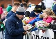 28 February 2020; Jordan Larmour signs autographs following following an Ireland Rugby open training session at Energia Park in Donnybrook, Dublin. Photo by Ramsey Cardy/Sportsfile