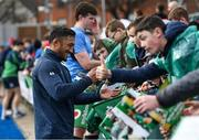 28 February 2020; Bundee Aki signs autographs following an Ireland Rugby open training session at Energia Park in Donnybrook, Dublin. Photo by Ramsey Cardy/Sportsfile