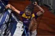 22 February 2020; Jack O'Connor of Wexford climbs back over the advertising hoarding after being pushed out of play during the Allianz Hurling League Division 1 Group B Round 4 match between Dublin and Wexford at Croke Park in Dublin. Photo by Sam Barnes/Sportsfile