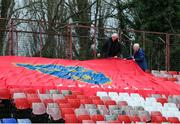 28 February 2020; Shelbourne supporters John McGouran, Left, and Eamon White place a flag ahead of the SSE Airtricity League Premier Division match between Shelbourne and St Patrick's Athletic at Tolka Park in Dublin. Photo by Michael P Ryan/Sportsfile