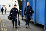 28 February 2020; James Lowe and Leinster head coach Leo Cullen arrive for the Guinness PRO14 Round 13 match between Leinster and Glasgow Warriors at the RDS Arena in Dublin. Photo by Diarmuid Greene/Sportsfile