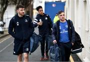 28 February 2020; Leinster players Hugo Keenan, Joe Tomane and Rowan Osborne arrive for the Guinness PRO14 Round 13 match between Leinster and Glasgow Warriors at the RDS Arena in Dublin. Photo by Diarmuid Greene/Sportsfile