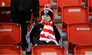 28 February 2020; A young Derry City supporter prior to the SSE Airtricity League Premier Division match between Derry City and Bohemians at the Ryan McBride Brandywell Stadium in Derry. Photo by Oliver McVeigh/Sportsfile