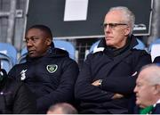 28 February 2020; Republic of Ireland manager Mick McCarthy, right, with assistant coach Terry Connor in attendance ahead of the SSE Airtricity League Premier Division match between Shamrock Rovers and Dundalk at Tallaght Stadium in Dublin. Photo by Ben McShane/Sportsfile