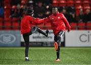 28 February 2020; Ciaron Harkin, left, and Paul Moussa Bakayoko of Derry City before the SSE Airtricity League Premier Division match between Derry City and Bohemians at the Ryan McBride Brandywell Stadium in Derry. Photo by Oliver McVeigh/Sportsfile