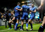 28 February 2020; Dave Kearney of Leinster congratulated by team-mates Hugo Keenan and Harry Byrne after scoring his side's first try during the Guinness PRO14 Round 13 match between Leinster and Glasgow Warriors at the RDS Arena in Dublin. Photo by Diarmuid Greene/Sportsfile