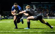 28 February 2020; Dave Kearney of Leinster is tackled by Kyle Steyn of Glasgow Warriors before going on to score his side's first try during the Guinness PRO14 Round 13 match between Leinster and Glasgow Warriors at the RDS Arena in Dublin. Photo by Diarmuid Greene/Sportsfile