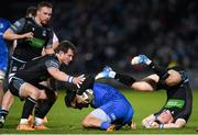 28 February 2020; James Lowe of Leinster in action against Pete Horne, left, and George Horne of Glasgow Warriors  during the Guinness PRO14 Round 13 match between Leinster and Glasgow Warriors at the RDS Arena in Dublin. Photo by Ramsey Cardy/Sportsfile