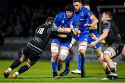 28 February 2020; Ryan Baird of Leinster is tackled by Pete Horne and Tom Gordon of Glasgow Warriors during the Guinness PRO14 Round 13 match between Leinster and Glasgow Warriors at the RDS Arena in Dublin. Photo by Diarmuid Greene/Sportsfile