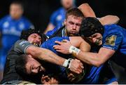 28 February 2020; Josh Murphy, supported by Leinster team-mate Ryan Baird, is tackled by Tim Swinson, left, and Matt Fagerson of Glasgow Warriors during the Guinness PRO14 Round 13 match between Leinster and Glasgow Warriors at the RDS Arena in Dublin. Photo by Ramsey Cardy/Sportsfile