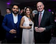 28 February 2020; Warren Deutrom, CEO of Cricket Ireland, with Irish cricket player Simi Singh and his wife Agom during the Turkish Airlines Irish Cricket Awards 2020 at The Marker Hotel in Dublin. Photo by Matt Browne/Sportsfile