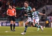 28 February 2020; Dylan Watts of Shamrock Rovers celebrates after scoring his side's first goal during the SSE Airtricity League Premier Division match between Shamrock Rovers and Dundalk at Tallaght Stadium in Dublin. Photo by Ben McShane/Sportsfile