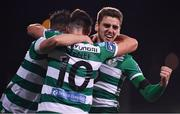 28 February 2020; Dylan Watts of Shamrock Rovers celebrates after scoring his side's first goal with team-mates Ronan Finn, left, and Aaron McEneff, 10, during the SSE Airtricity League Premier Division match between Shamrock Rovers and Dundalk at Tallaght Stadium in Dublin. Photo by Ben McShane/Sportsfile