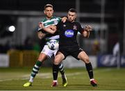 28 February 2020; Michael Duffy of Dundalk in action against Lee Grace of Shamrock Rovers during the SSE Airtricity League Premier Division match between Shamrock Rovers and Dundalk at Tallaght Stadium in Dublin. Photo by Ben McShane/Sportsfile