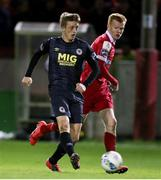 28 February 2020; Chris Forrester of St Patrick's Athletic in action against Shane Farrell of Shelbourne during the SSE Airtricity League Premier Division match between Shelbourne and St Patrick's Athletic at Tolka Park in Dublin. Photo by Michael P Ryan/Sportsfile
