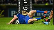 28 February 2020; Ryan Baird of Leinster scores his side's sixth try during the Guinness PRO14 Round 13 match between Leinster and Glasgow Warriors at the RDS Arena in Dublin. Photo by Diarmuid Greene/Sportsfile