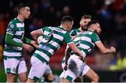 28 February 2020; Roberto Lopes of Shamrock Rovers, right, celebrates after scoring his side's second goal with team-mates, from left, Neil Farrugia, Aaron Greene and Greg Bolger during the SSE Airtricity League Premier Division match between Shamrock Rovers and Dundalk at Tallaght Stadium in Dublin. Photo by Ben McShane/Sportsfile