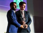 28 February 2020; Nathan McGuire is presented with the Male Youth International Player of the Year award by Irish cricket player Simi Singh during the Turkish Airlines Irish Cricket Awards 2020 at The Marker Hotel in Dublin. Photo by Matt Browne/Sportsfile