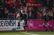 28 February 2020; Stephen Mallon of Derry City, left, celebrates after scoring his side's first goal during the SSE Airtricity League Premier Division match between Derry City and Bohemians at the Ryan McBride Brandywell Stadium in Derry. Photo by Oliver McVeigh/Sportsfile