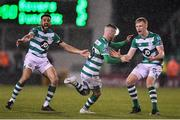 28 February 2020; Jack Byrne, centre, of Shamrock Rovers celebrates after scoring his side's third goal with team-mates Liam Scales, right, and Roberto Lopes during the SSE Airtricity League Premier Division match between Shamrock Rovers and Dundalk at Tallaght Stadium in Dublin. Photo by Ben McShane/Sportsfile