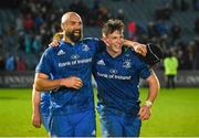28 February 2020; Scott Fardy and Ryan Baird of Leinster celebrate after the Guinness PRO14 Round 13 match between Leinster and Glasgow Warriors at the RDS Arena in Dublin. Photo by Diarmuid Greene/Sportsfile