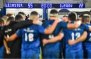28 February 2020; A general view of the final score on the scoreboard as the Leinster team huddle together after the Guinness PRO14 Round 13 match between Leinster and Glasgow Warriors at the RDS Arena in Dublin. Photo by Diarmuid Greene/Sportsfile