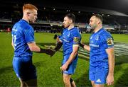 28 February 2020; Ciarán Frawley, Hugo Keenan and Dave Kearney of Leinster celebrate after the Guinness PRO14 Round 13 match between Leinster and Glasgow Warriors at the RDS Arena in Dublin. Photo by Diarmuid Greene/Sportsfile